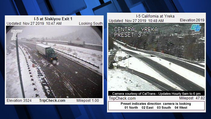 I-5 snow Oregon-California
