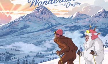 Yeti and Squatch in Oregon's winter wonderland