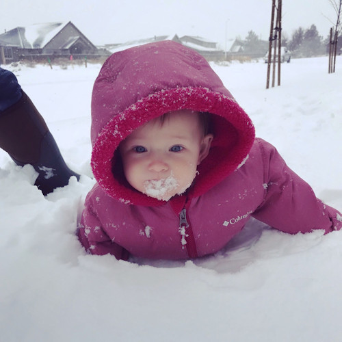 Baby's first snow day Julia Maddox 1127