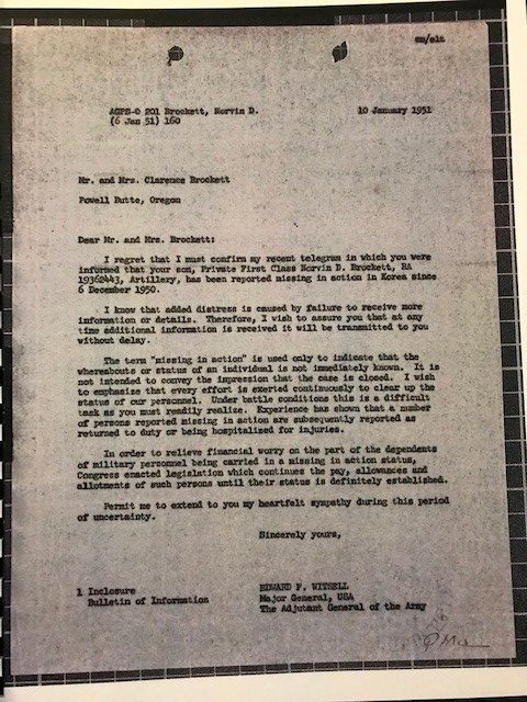 CPL Norvin D Brockett 1951 Notification