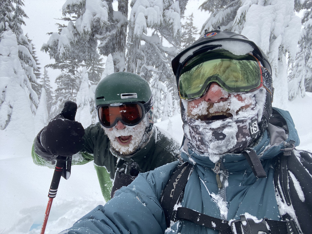 Cloudchaser skiers Tommy Clabough and Matt Silver are covered in cold and couldn't be happier