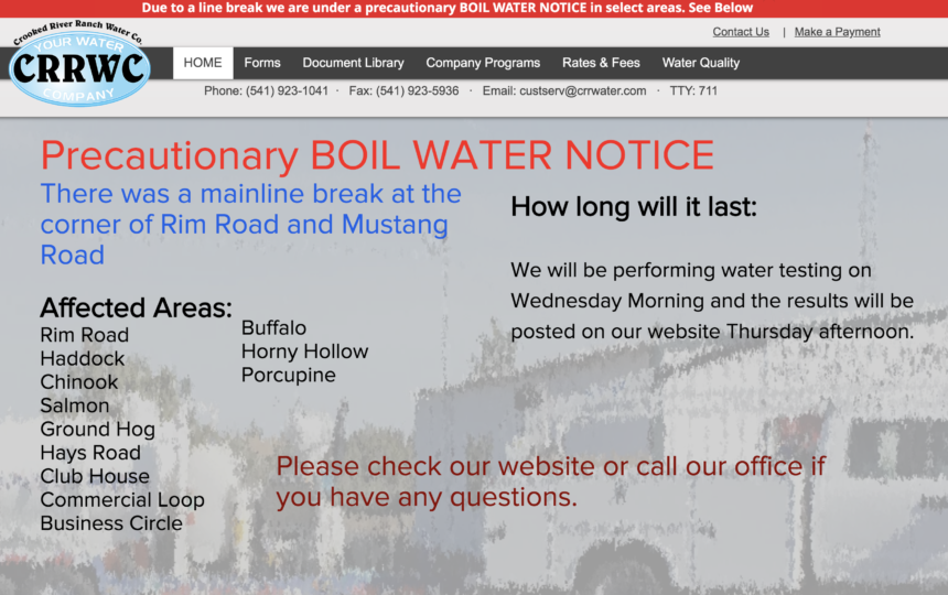 Crooked River Ranch boil water notice