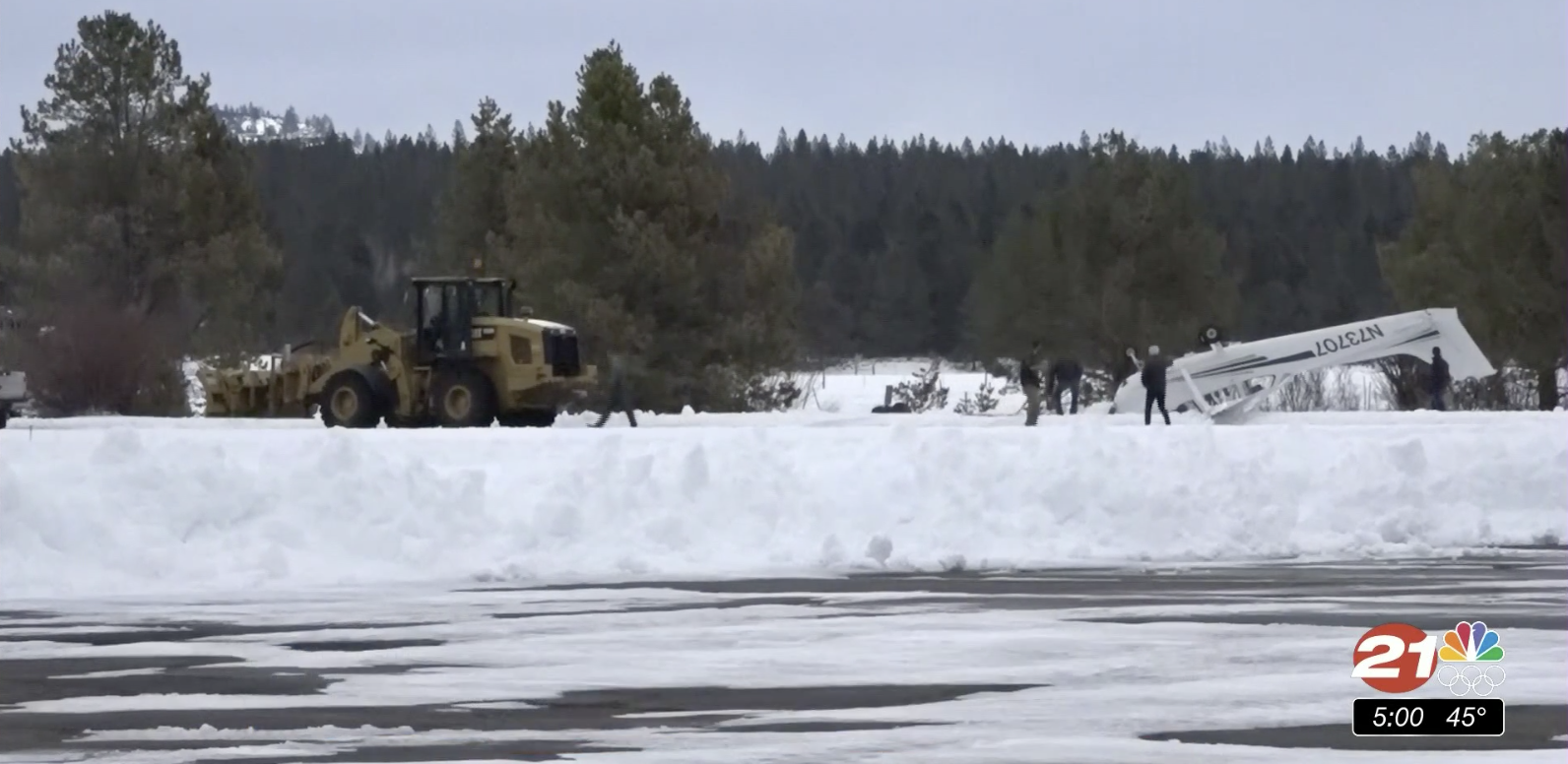 Plane flipped on its top in snow beside runway at Sunriver Airport on Monday afternoon