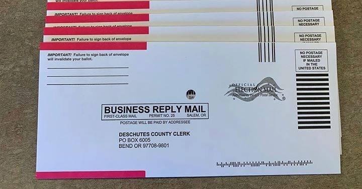 Deschutes County postage-paid ballot envelope