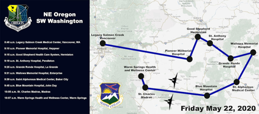 May 22 Oregon Air National Guard flyover map