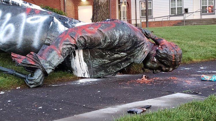 Statue of George Washington was toppled on Sandy Blvd. in Portland