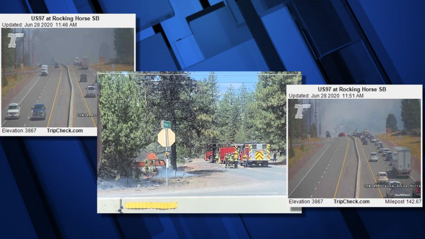 Highway 97 crash brushfire ODOT Amanda Cook 628