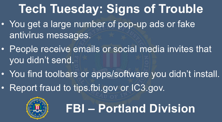 Oregon FBI Tech Tuesday signs of trouble