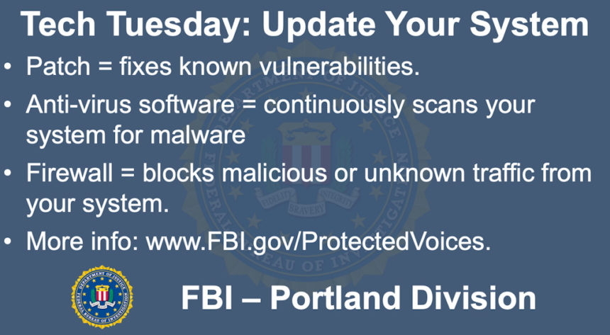 Oregon FBI Tech Tuesday update your system