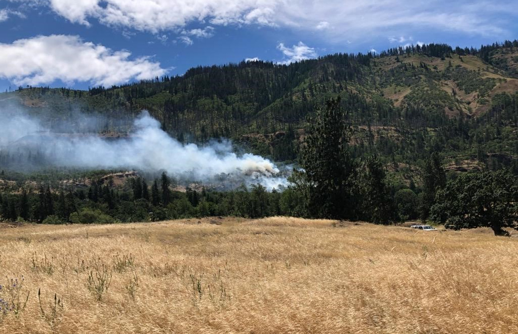 Wildfire broke out Sunday near the Columbia Gorge town of Rowena