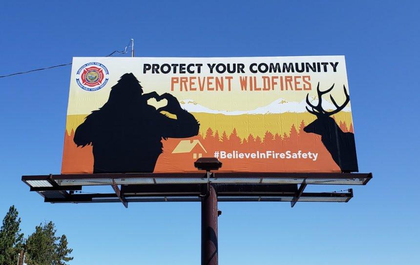 Bigfoot billboard prevent wildfires