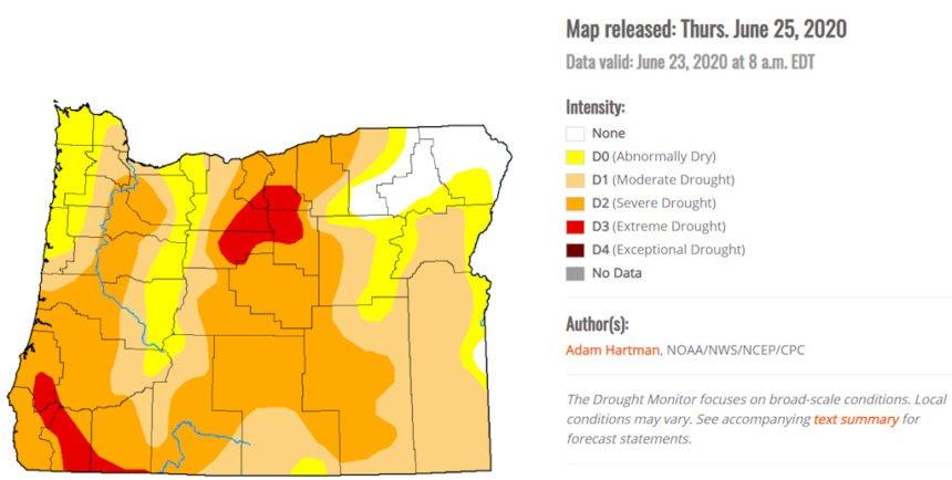Oregon Drought Monitor map 625