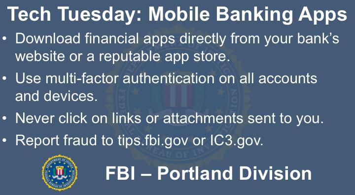 Oregon FBI Tech Tuesday mobile banking apps