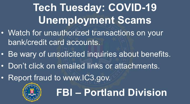 Oregon FBI Tech Tuesday unemployment scams