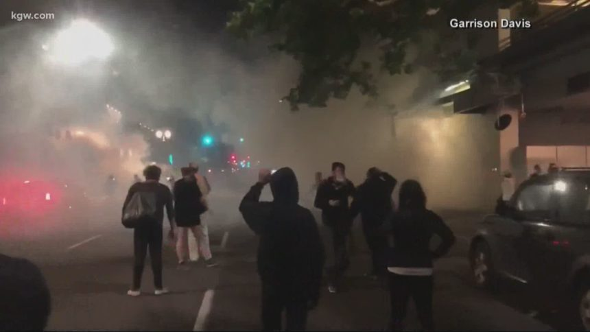 Portland protest tear gas KGW