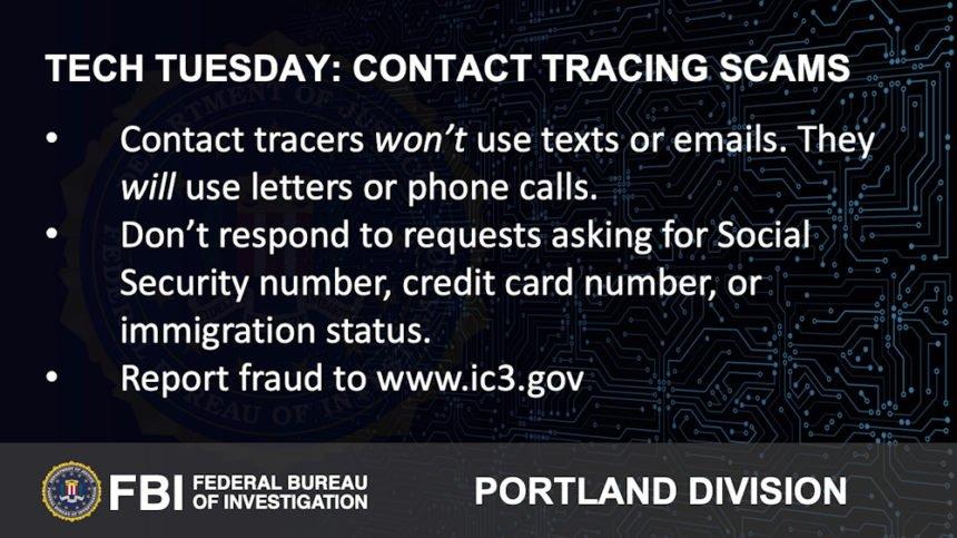 Oregon FBI Tech Tuesday Contact tracing scams