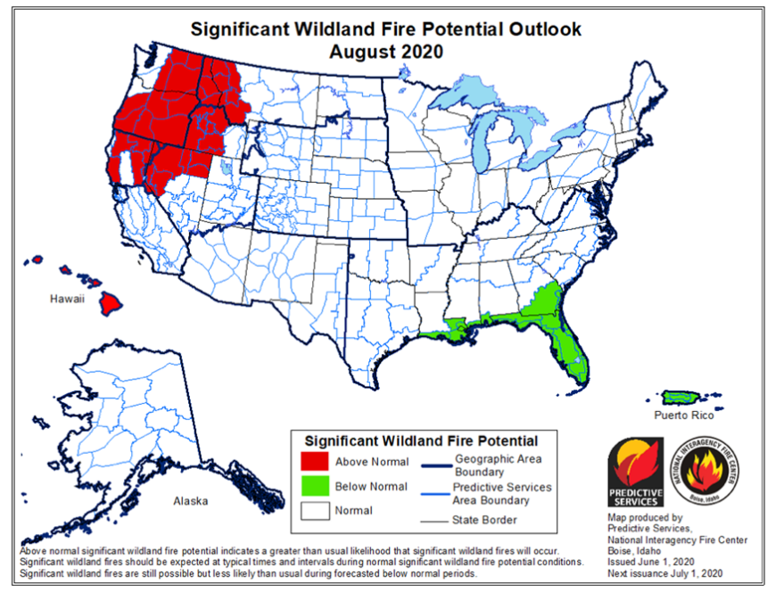 Significant wildfire potential August