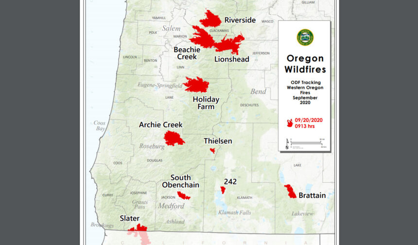 ODF Oregon wildfires map 920