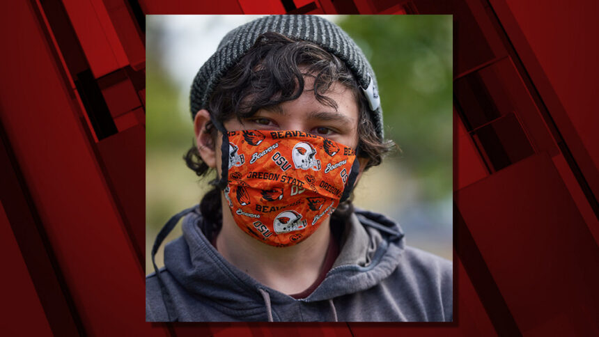 OSU student with mask