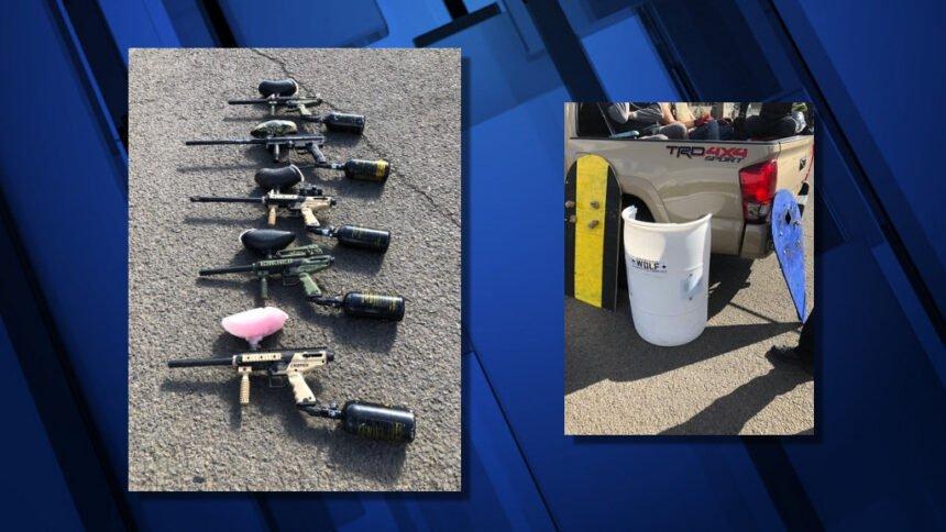 Paintball guns shields Portland police 926