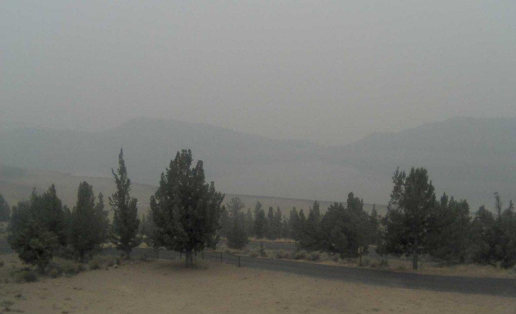 Murky, smoke-shrouded view in September 2020 at Prineville Reservoir State Park