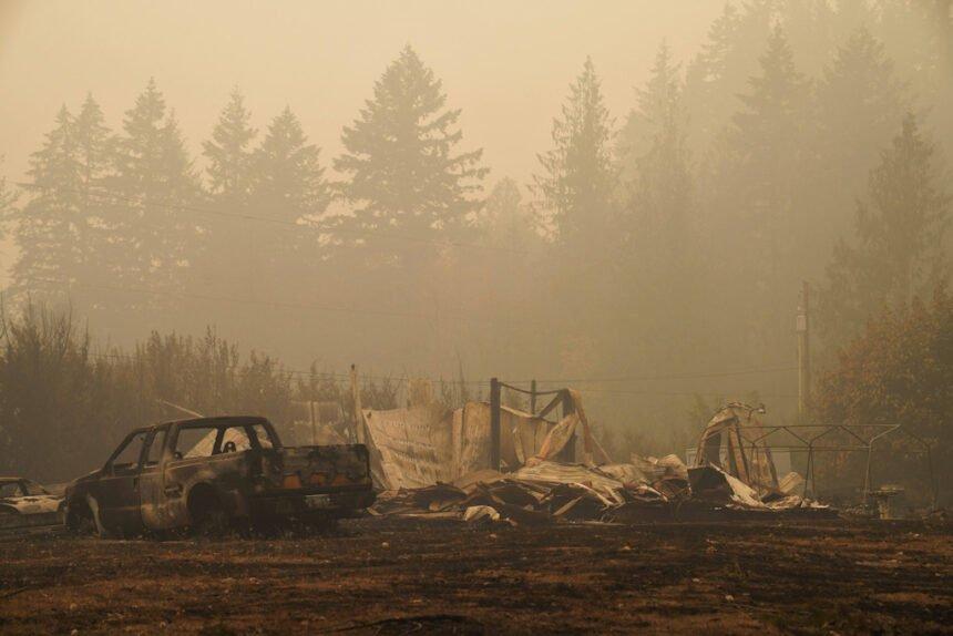 Vehicles Hwy. 22 burned by fire FEMA