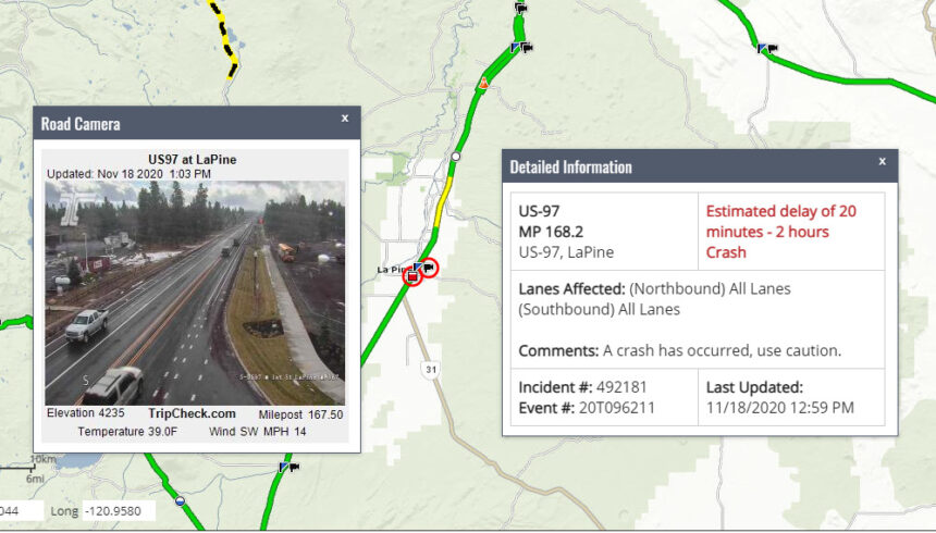 Hwy 97 La Pine crash ODOT 1118-1