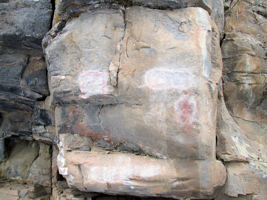 Vandalized pictographs west of Bend USFS 1130