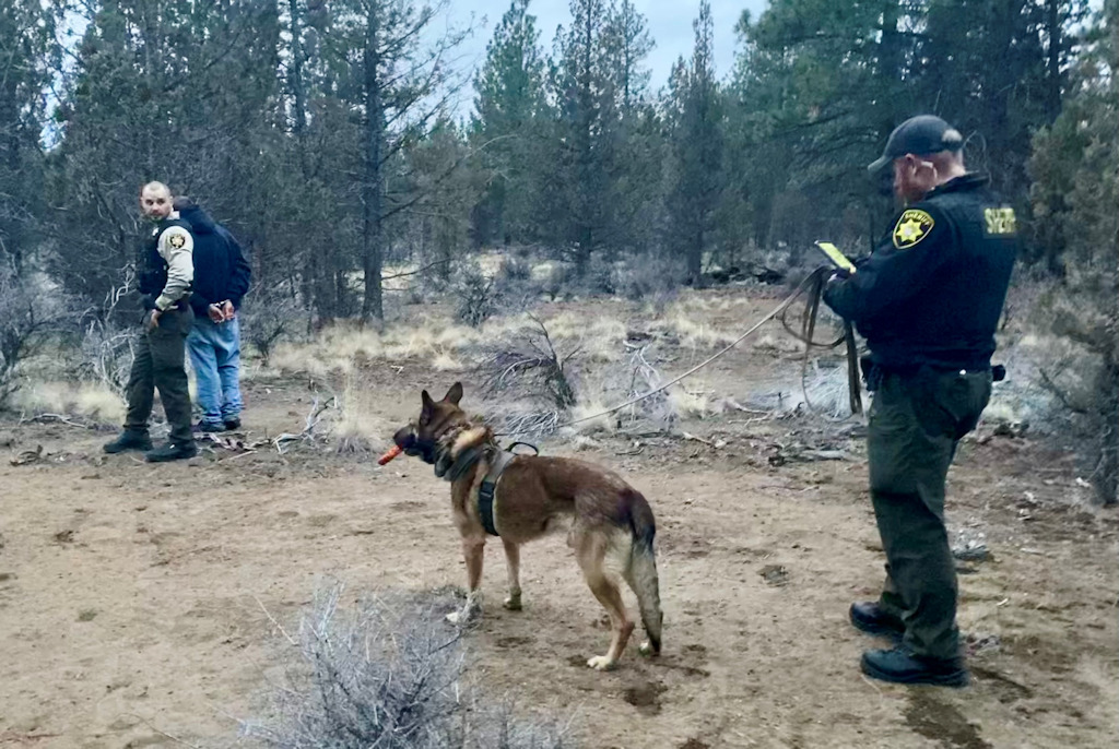 Deschutes County sheriff's K-9 Ezel, Deputy Jeremiah Johnson tracked fugitive on the run  NW of Bend in December 2020.
