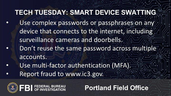 Oregon FBI Tech Tuesday smart device swatting 112