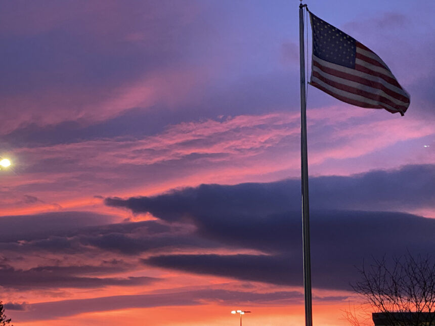 Bend sunset flag Rebecca Leffler