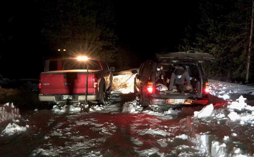 Two Chevy Suburbans (and a Ford F-150 pickup) got stuck on snowy Cascade Lakes Highway Sunday night