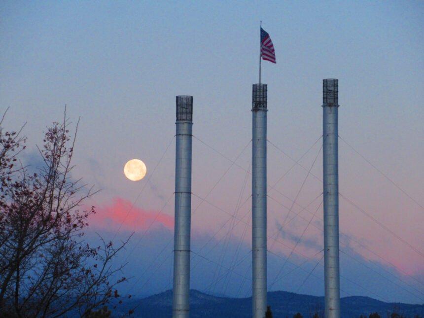 Old Mill smokestacks sunrise full moon Johnny Oliver 227