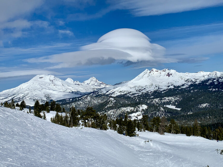 Unusual cloud Three Sisters Broken Top from Mt. Bachelor Roger Coats 29