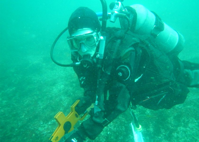 Scuba diver conducts monitoring in 2014 at Cascade Head Marine Reserve