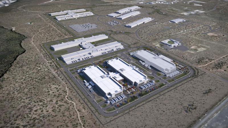 A rendering of Facebook's ever-growing Prineville Data Center, with two newly planned, two-story buildings in the foreground