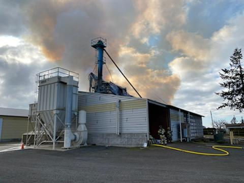 One worker died Tuesday when dust explosion apparently sparked fire at seed-cleaning plant near Silverton