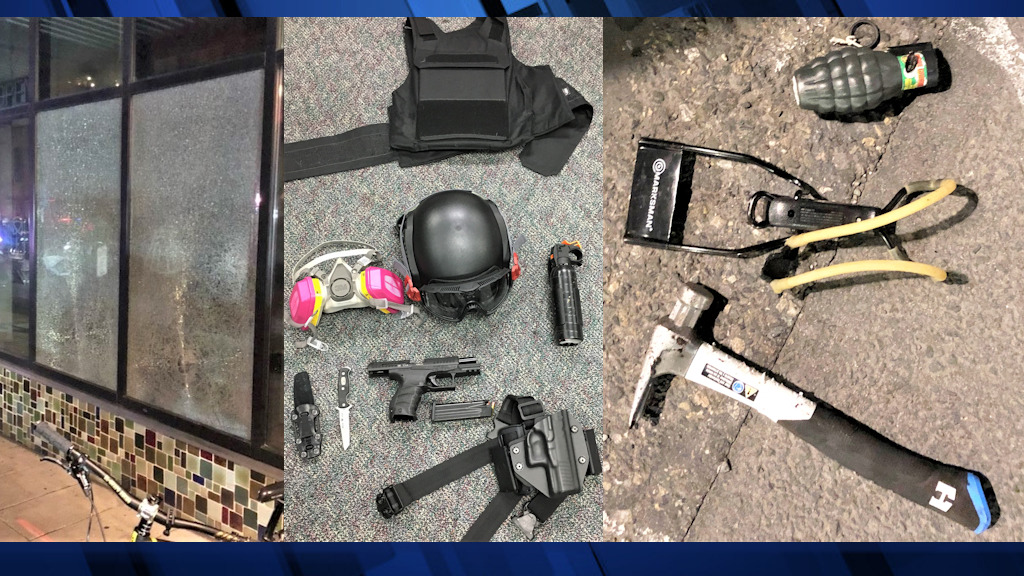 Windows were broken Friday night in Portland's Pearl District; police displayed some of the items found on those detained