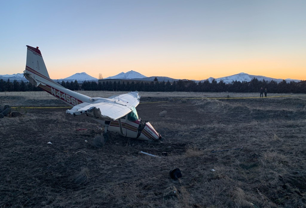Nearly 50-year-old Cessna single-engine plane was heavily damaged in Sisters crash March 3, but 2 occupants got out on their own, deputies say