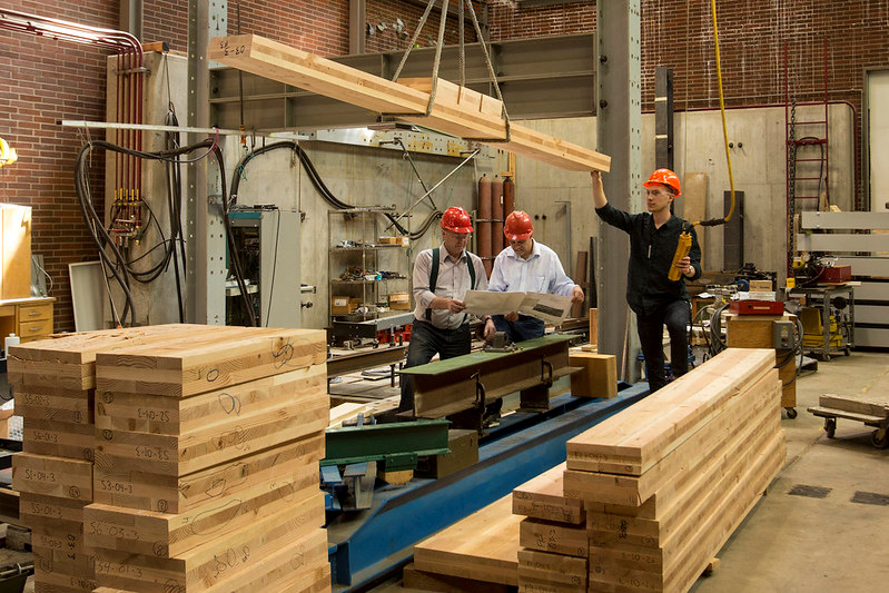 Cross laminated timber is studied in a laboratory at Oregon State University.