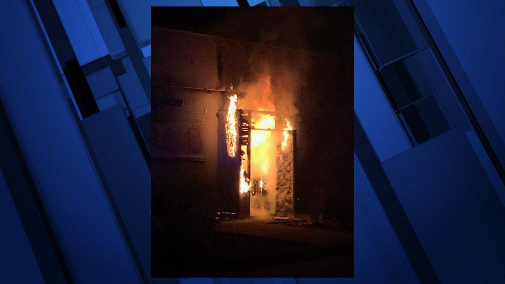 Portland Police Association entryway burns Tuesday night