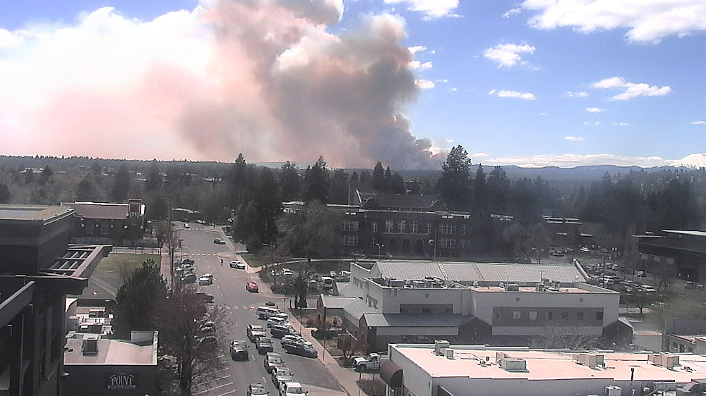 Prescribed burn west of Bend, as seen from downtown