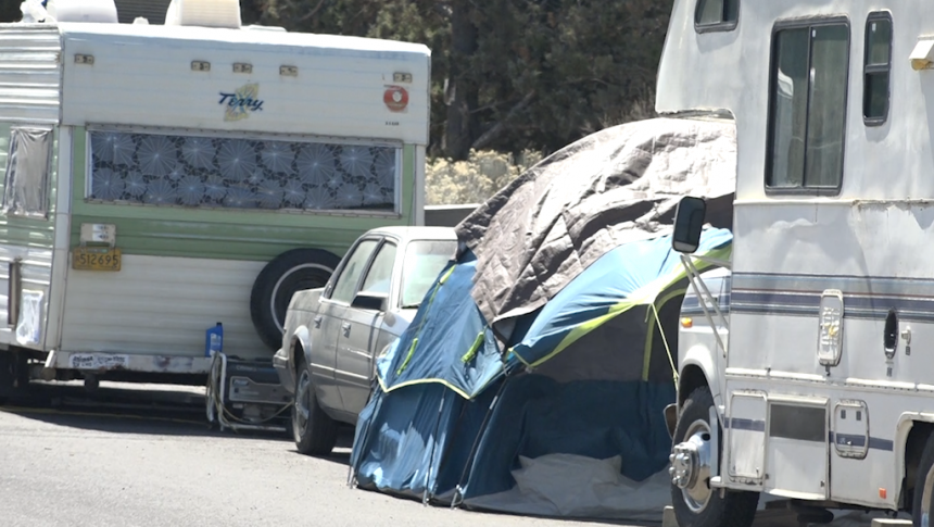 Dozens of RVs, cars and tents have been located for months at a homeless encampment along Hunnell Road in Bend