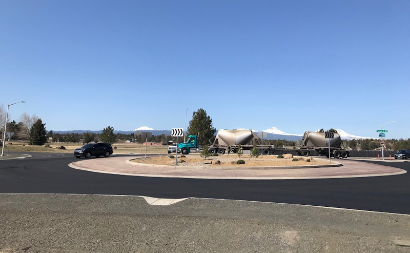 Tumalo Road/Tumalo Place roundabout, in early April