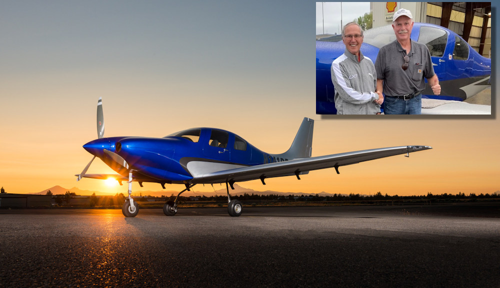 Ken Wolf (left) and Lin Hough flew LX7 from Redmond to  Jacksonville, Florida nonstop in 8 hours and 23 minutes. The 2,100 nautical miles they traveled more than doubles the distance most personal aircraft can go without refueling