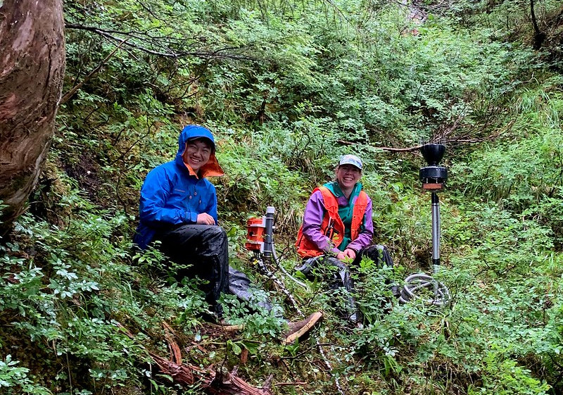 Max Chu and Annette Patton of the SitkaNet project, which aims to gather and study soil and weather data to better understand the conditions that cause landslides.