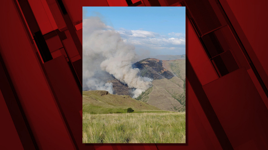 The Joseph Canyon Fire burns in a view from Rye Ridge