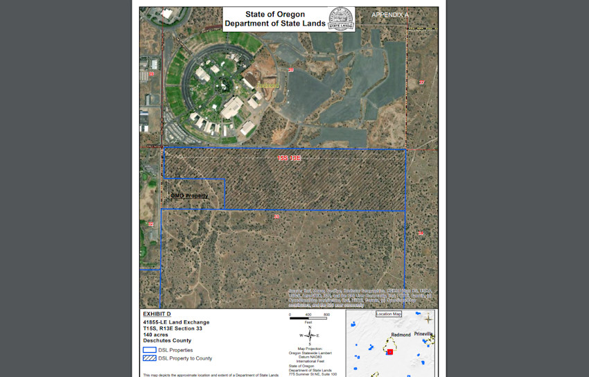 Portion of state land exchanged with Deschutes County for future fairgrounds expansion