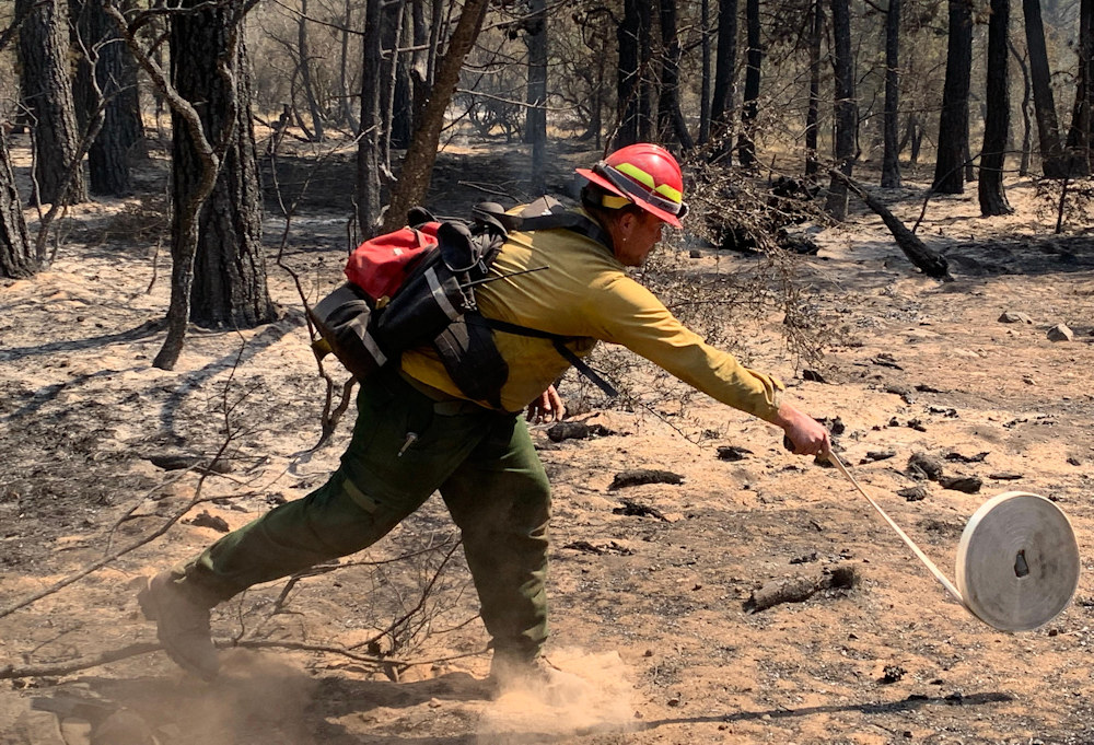 Firefighter on the Bootleg Fire in southern Oregon throws to unroll a fire hose