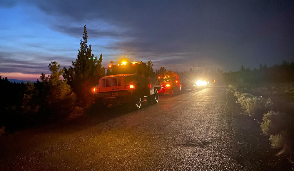 Engine crews prepare for the night shift on the Bootleg Fire